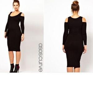 ASOS Curve Black Bodycon Dress with Cold Shoulder